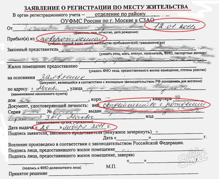 Заявление на регистрацию по месту жительства глаза Элвина