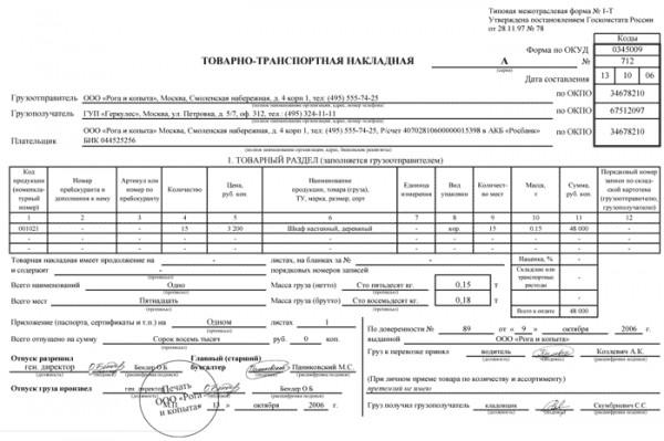Товарно-транспортная накладная (форма 1-т) нормативные акты о.